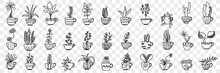 Plants In Pots Doodle Set. Collection Of Hand Drawn Various Homegrown Pants And Flowers In Pots For Home Interior Decoration Isolated On Transparent Background