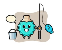 Mascot Character Of Bottle Cap As A Fisherman