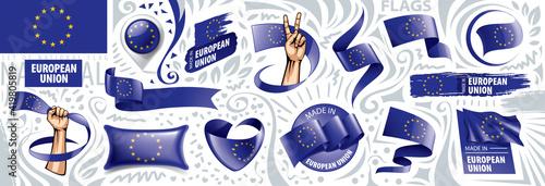 Photo European union flag, vector illustration on a white background