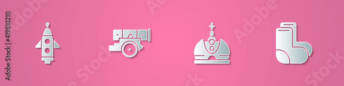 Set paper cut Rocket ship, Cannon, King crown and Valenki icon Fotobehang