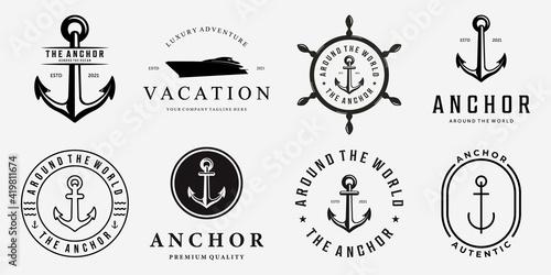 Set Bundle of Anchor Ship Yacht Luxury Badge Vector Logo, Illustration Vintage D Fotobehang