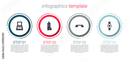 Obraz Set Weight, Fitness shaker, Step platform and Smartwatch. Business infographic template. Vector. - fototapety do salonu