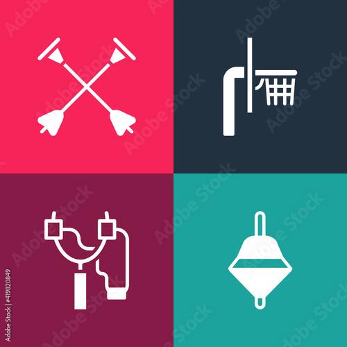 Fotografija Set pop art Whirligig toy, Slingshot, Basketball backboard and Arrow with sucker tip icon
