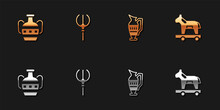 Set Ancient Amphorae, Neptune Trident, And Trojan Horse Icon. Vector.