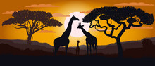 Silhouette Of Giraffes Of The African Savannah. Scenery. Africa. Bright Vector Illustration. Wildlife.
