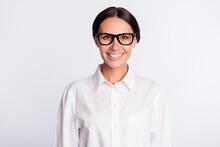 Photo Of Optimistic Brunette Hairdo Lady Wear Spectacles White Shirt Isolated On Grey Color Background