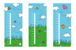 Cute drawn height meters collection illustrated Vector illustration.