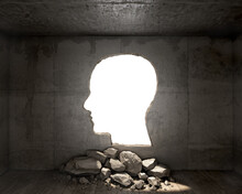 Concept Of Destroyed Concrete Wall With A Hole In A Shape Of Profile Head, 3d Illustration
