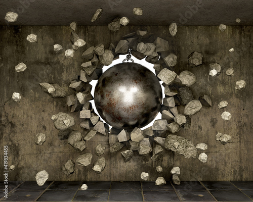 Fototapeta Destroyed old concrete wall with wrecking ball and the pieces flight, 3d illustration obraz na płótnie