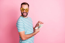 Profile Side View Portrait Of Nice Cheerful Guy Wear Dollar Specs Counting Cash Win Budget Isolated Over Pink Pastel Color Background