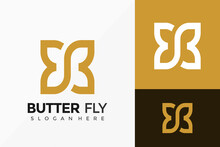 Letter B Butterfly Creative Logo Vector Design. Abstract Emblem, Designs Concept, Logos, Logotype Element For Template.