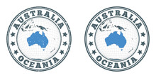 Australia Round Logos. Circular Badges Of Country With Map Of Australia In World Context. Plain And Textured Country Stamps. Vector Illustration.