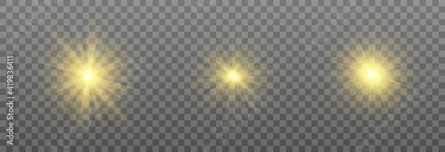 Obraz Special design of sunlight or light effect. Star, sun or spotlight beams. Bright flash. Light PNG. Decor element. Vector illustration for decorating. Isolated transparent background. - fototapety do salonu