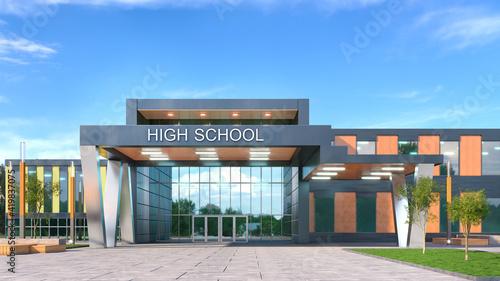 Fotografija School fasade exterior. 3d illustration