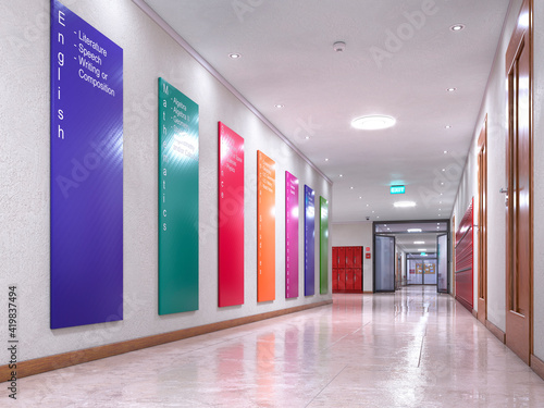 Foto School hallway with information posters on the wall