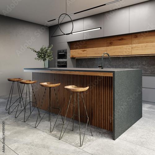 Modern kitchen interior in loft style. Gray ceramic tiles on the floor. 3d rendering