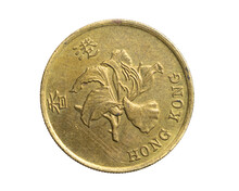 Hong Kong Fifty Cents Coin On White Isolated Background