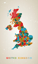 United Kingdom Map. Country Poster With Colored Regions. Old Grunge Texture. Vector Illustration Of United Kingdom With Country Name.