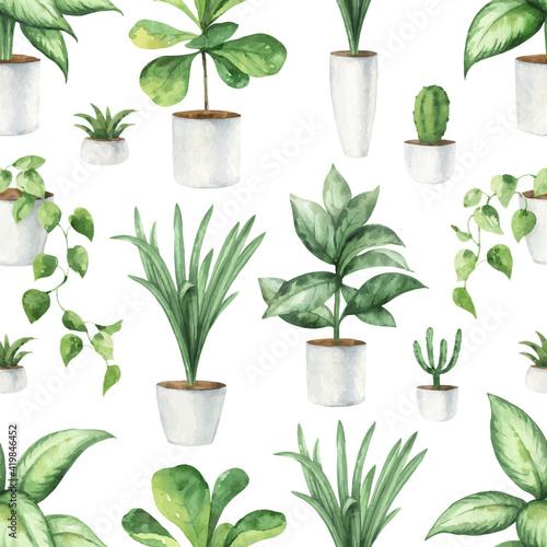 Canvas Print Watercolor vector seamless pattern of indoor green plants in pots