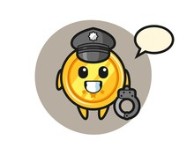 Cartoon Mascot Of Medal As A Police
