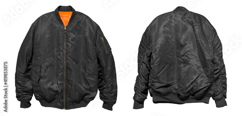 Fotografiet Bomber jacket color black front and back view on white background