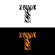Tiger Print Letter T Logo Vector 001