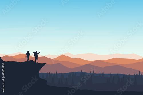 Fototapeta flat landscape mountain climbers who see a beautiful atmosphere obraz