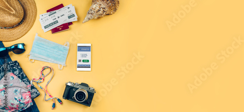 Obraz Background set with mobile covid passport and beach holiday objects - fototapety do salonu