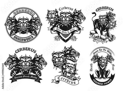 Obraz na plátně Monochrome emblems with Cerberus vector illustration set