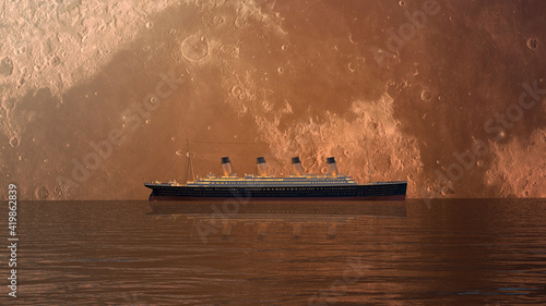 Legendary transatlantic ship  titanic and moon. 3d illustration Fototapeta