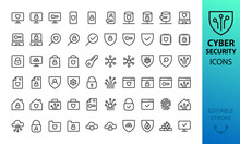Cyber Security Line Icons Set. Set Of  Antivirus, Fraud Protection, Network Firewall, Online Privacy, Fingerprint, Cloud Data Encryption, Mobile Security, Secure Data, Padlock Isolated Vector Icons