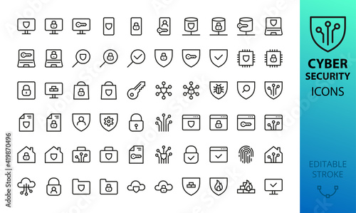 Fotografie, Obraz Cyber security line icons set