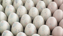 Multicolored, Easter Egg Background. Beautiful White, And Pastel Eggs With Spotted, Circle And Ring Patterns. 3D Render