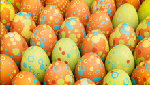 Multicolored, Easter Egg Background. Beautiful Green, Orange And Blue Eggs With Circle And Ring Patterns. 3D Render