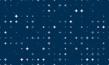 Seamless Background Pattern Of Evenly Spaced White Plus Symbols Of Different Sizes And Opacity. Vector Illustration On Dark Blue Background With Stars