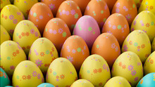 Multicolored, Easter Egg Background. Beautiful Yellow, Orange And Pink Eggs With Floral Patterns. 3D Render