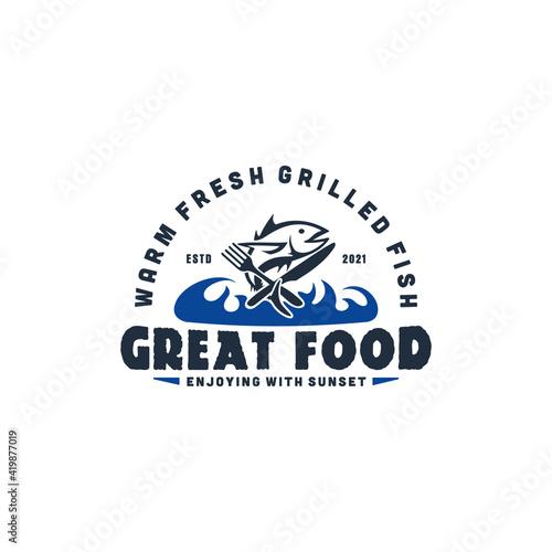 Canvastavla beachside restaurant vintage logo vector eps 10 download