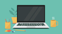 Laptop Computer With Blank Empty Display Screen For Copy Space On Workplace, Vector Flat Illustration