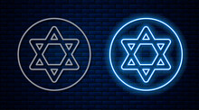 Glowing Neon Line Star Of David Icon Isolated On Brick Wall Background. Jewish Religion Symbol. Symbol Of Israel. Vector