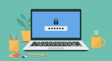 Laptop Computer With Padlock And Password Security Access Or Verification Code Notification, Vector Flat Illustration