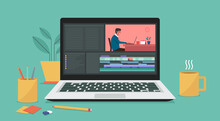 Video Editing Software On Laptop Computer. Workplace For Freelancer And Editor, Vlogger Or Movie Making, Vector Flat Illustration