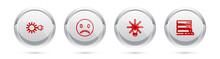 Set Line Sun With Electric Plug, Sad Smile, Light Bulb Gear And Customer Care Server. Silver Circle Button. Vector
