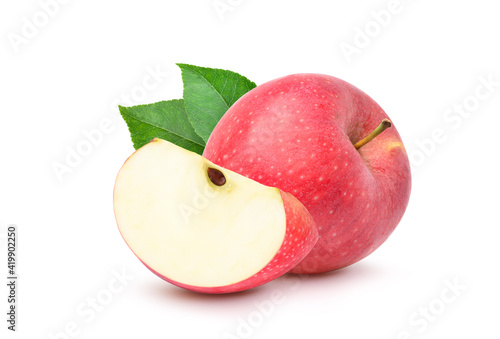 Slika na platnu Fresh red Apple fruit with sliced and green leaves isolated on white background
