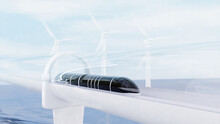 Future Train Futuristic With Hyperloop Technology And Sea Background. 3d Render.