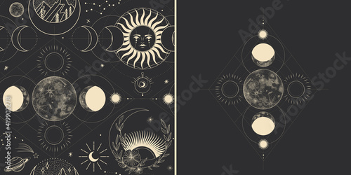 Vector illustration set of moon phases Fototapeta