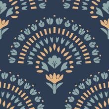 Seamless Vector Pattern With Flower Fan On Blue Background. Simple Floral Curve Wallpaper Design. Beautiful Decorative Hand Fan Fashion Textile.