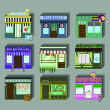 A Set Of Cute Miniature Houses, Shops,boutiques.Store Icons On A Flat Style.Design Houses For Websites.