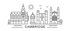 Cambridge Minimal Style City Outline Skyline With Typographic. Vector Cityscape With Famous Landmarks. Illustration For Prints On Bags, Posters, Cards.