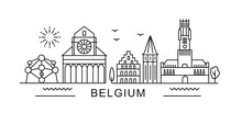 Belgium Minimal Style City Outline Skyline With Typographic. Vector Cityscape With Famous Landmarks. Illustration For Prints On Bags, Posters, Cards.