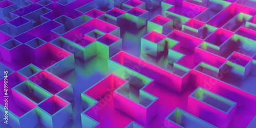 Abstract geometric shapes with glossy metallic reflection 3d rendering illustration. Cubic holographic geometric shapes.
